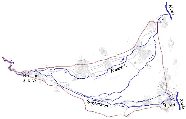 Komplexes Gewässersystem in der Rheinebene