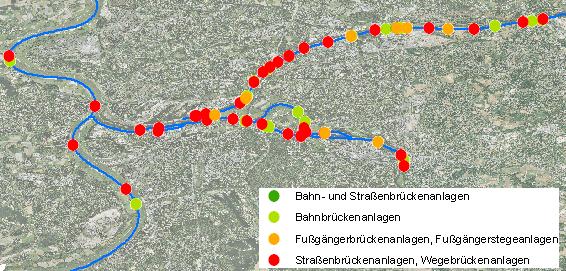Die Anwendung der Datenbank WADABA auf das Gewässernetz liefert diese Karte der Überführungen an Rhein und Ruhr.