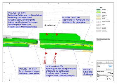 Planzeichnung für die Umgestaltung des Vorthbachs