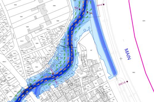 Darstellung der Überschwemmungsgebiete für HQ5 (Ausschnitt)