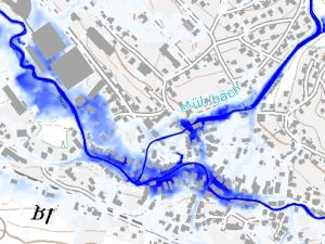 Mit HYDRO_AS-2D berechnete Wassertiefen