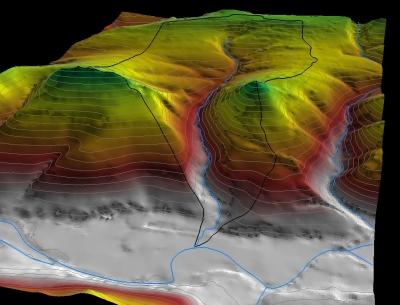 3D-Einzugsgebiet Berkeibach bei Meschede