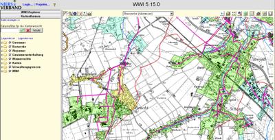 Das WWI stellt die Abwasserflächen unterschieden nach Regen-, Schmutz- und Mischwasserkanalisation in der Kartenansicht dar.