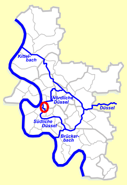Binnendelta der Düssel (Urheber der Karte: Jan Stöfer / Morty (talk))