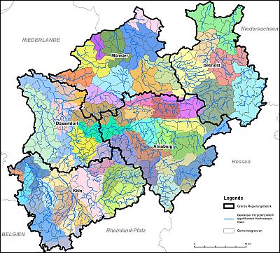 Räumliche Struktur zur Hochwasserrisikomanagement-Planung in NRW