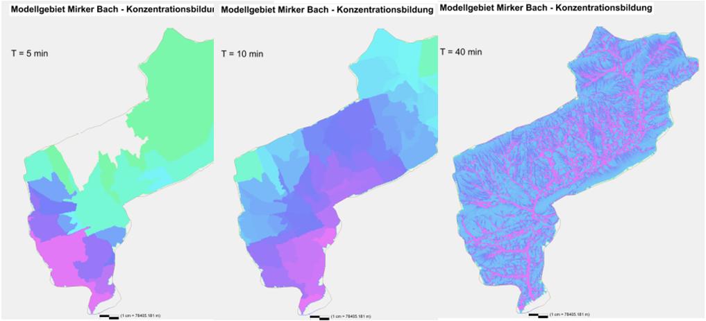 Die in NASIM angesetzten Niederschlagshöhen und die daraus berechnete Abflusskonzentration dient als Grundlage zur Ermittlung des Überflutungsrisiko