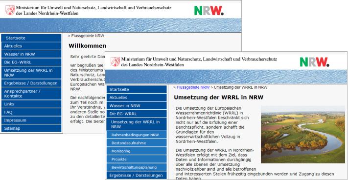 Unter www.flussgebiete.nrw.de informiert das MUNLV über die Umsetzung der EU-Wasserrahmenrichtlinie in NRW.