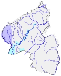 Hydrotec bearbeitet für Rheinland-Pfalz die Planungseinheiten Mosel/Saar (hellblau) und Sauer/Prüm (dunkelblau).