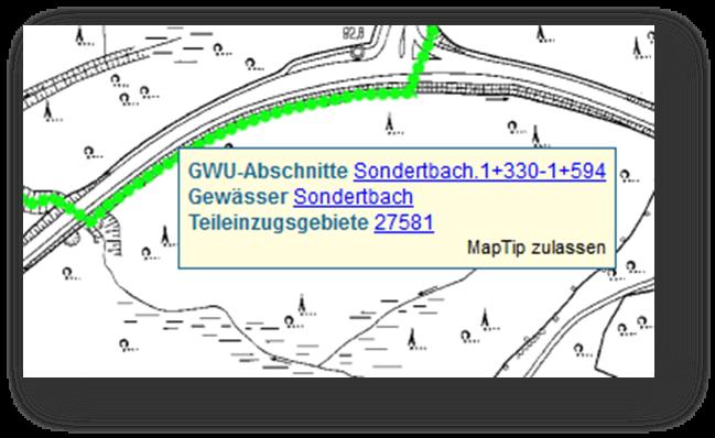 Anwender und Anwenderinnen finden und bearbeiten Informationen zu Unterhaltungsabschnitten in der Karte und in den Datenansichten.