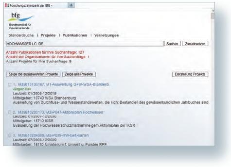 Das Gutachten-Informations-system unterstützt die BfG-interne Informationsweitergabe. Es ermöglicht u. a. eine Volltext- suche in den Publikationen. Das System vernetzt die Ergebnisse direkt mit den Projektdaten.