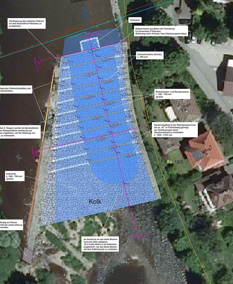 Planungsdetails für das Gießenteichwehr (Quelle Bild links: RP Freiburg)