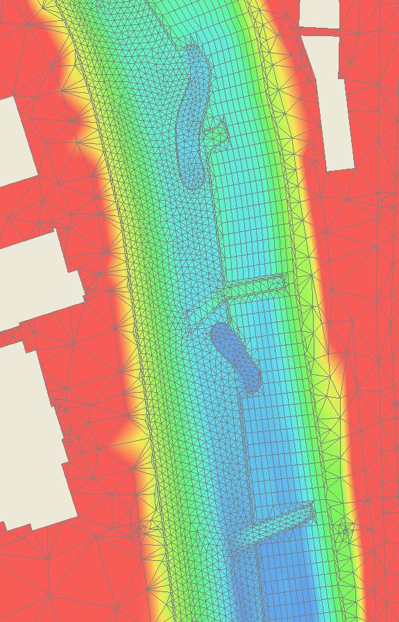 2D-Netz des umgestalteten Gewässerabschnitts