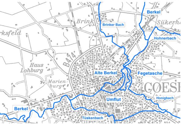 Das verzweigte Gewässersystem Coesfeld war eine Herausforderung für das Konzept zur Gewässerentwicklung.