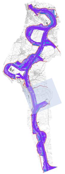 Rheinabschnitt zur Modellierung von Polder Elisabethenwört