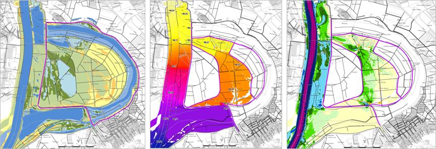 Die kleinen Karten des Polders stellen einige Ergebnisse von Variantenrechnungen dar: Überflutungsdauern, Wasserspiegellagen und Überflutungstiefen.