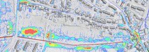 Mit dem 2D-Screening-Modell berechnet Hydrotec Fließwege und -tiefen. Gefährdete Bereiche werden so erkennbar.