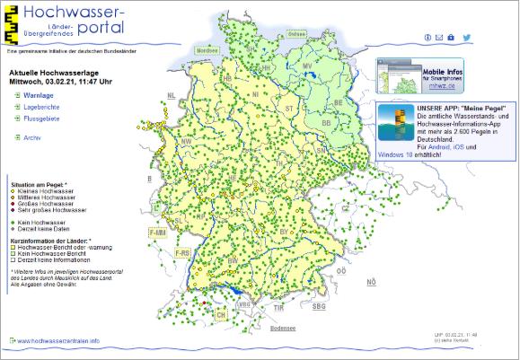 aktuelle Hochwassersituation HW-Portal der Länder