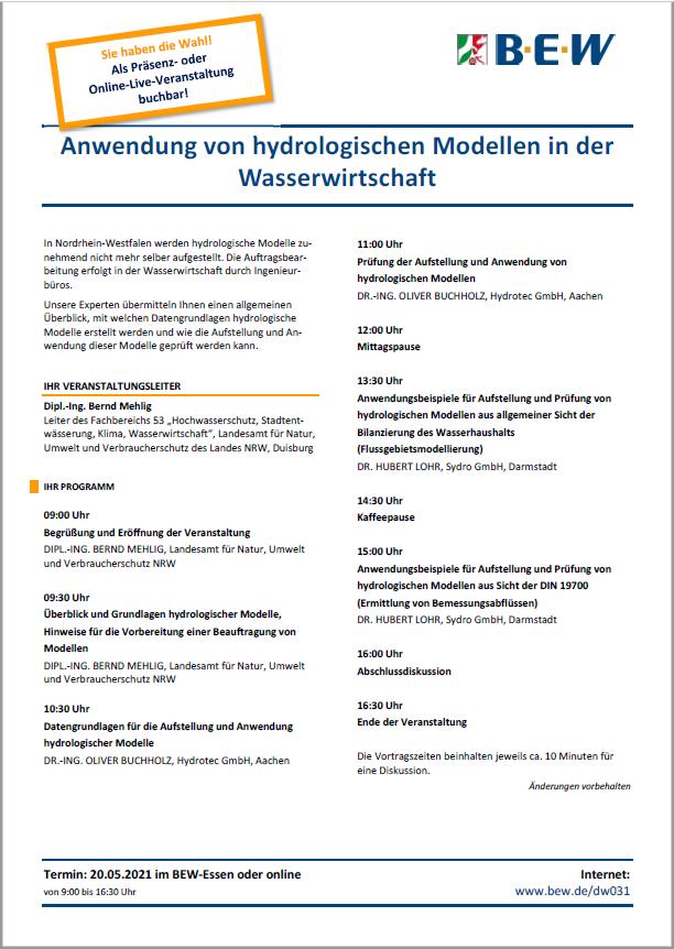 Flyer BEW-Seminar zur hydrologischen Modellierung
